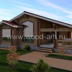Проект дома 13*12 из бревна с террасой 1 этаж