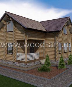 Проект дома 10*11 из бревна с террасой 2 этажа