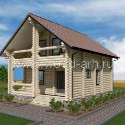 Проект дома 8*9 из бревна 2 этажа с балконом