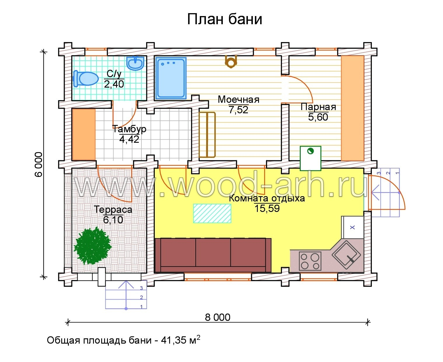 Проект бани 6*8 из бревна 1 этаж с террасой