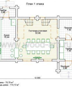 Проект дома 6*12 из бревна 2 этажа для базы отдыха