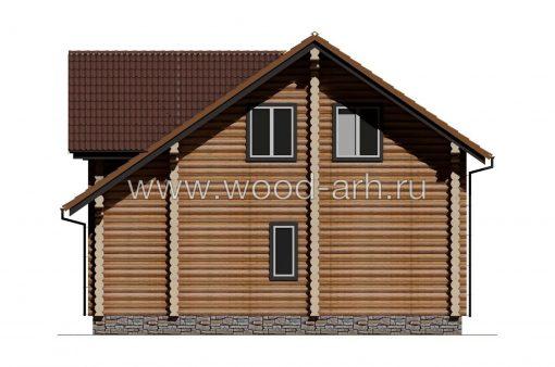 Проект дома 7*9 из бревна 2 этажа с террасой