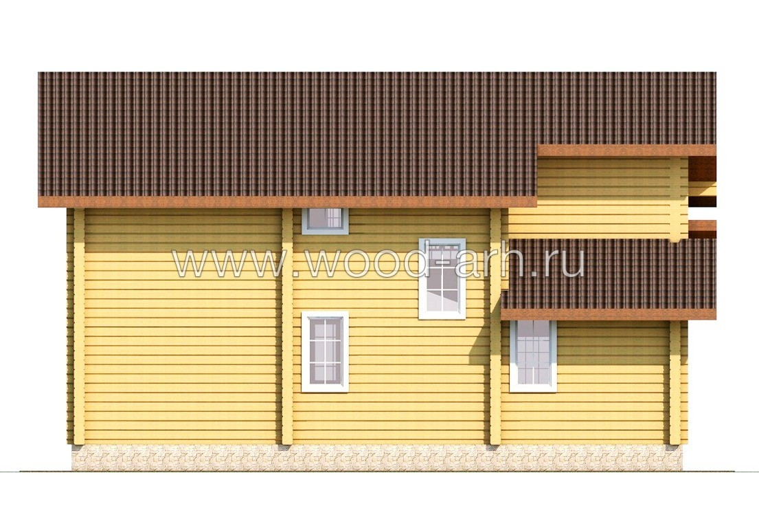 Проект дома 11*11 из бруса 2 этажа с теплой верандой