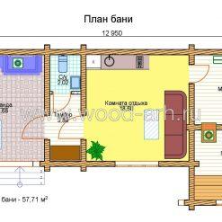 Проект бани 6*13 из бревна 1 этаж с террасой