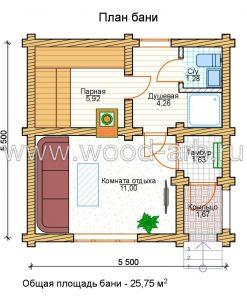 Проект бани 5*5 из бревна 1 этаж