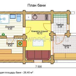 Проект бани 4*7 из бревна 1 этаж с террасой