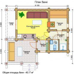 Проект бани 7*8 из бревна 1 этаж с большой террасой