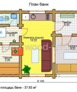 Проект бани 5*8 из бревна 1 этаж с большой террасой
