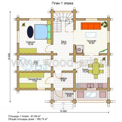 Проект дома 11*11 из бревна 2 этажа с террасой