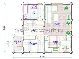 Проект дома 8*9 из бревна 2 этажа