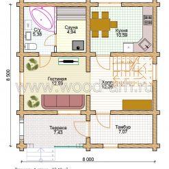 Проект дома 8*8 из бревна 2 этажа с террасой
