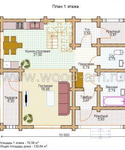 Проект дома 8*10 из бревна с террасой 2 этажа