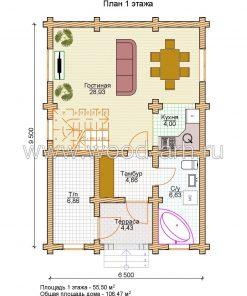 Проект дома 6*9 из бревна 2 этажа с террасой