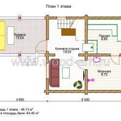 Проект бани 6*11 из бревна 2 этажа с террасой