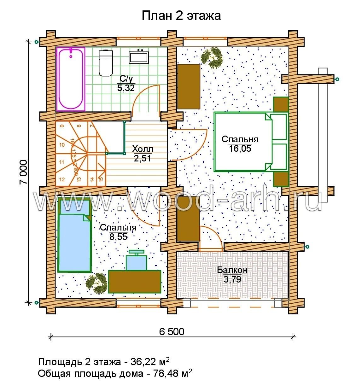 Проект дома 7*7 из бревна 2 этажа с террасой