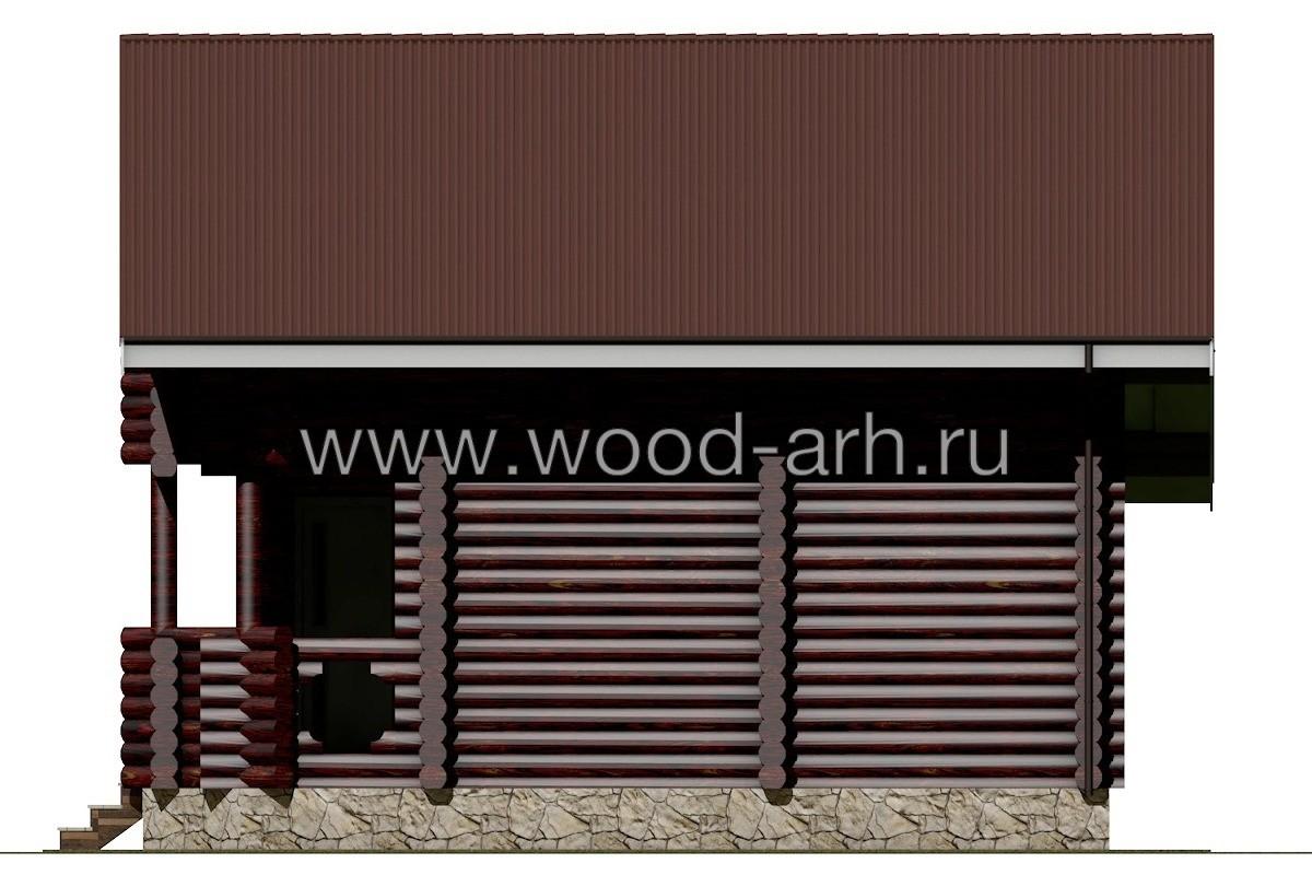 Проект бани 7*9 из бревна 2 этажа с террасой