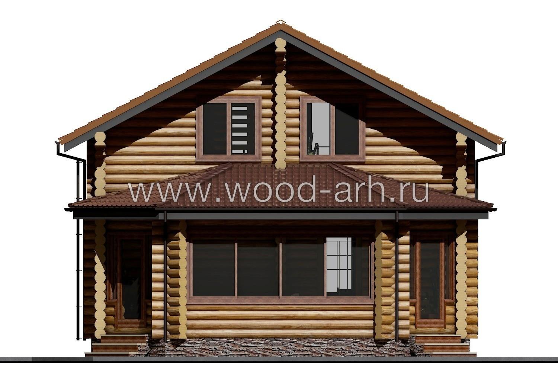 Проект дома 8*10 из бревна 2 этажа с верандой