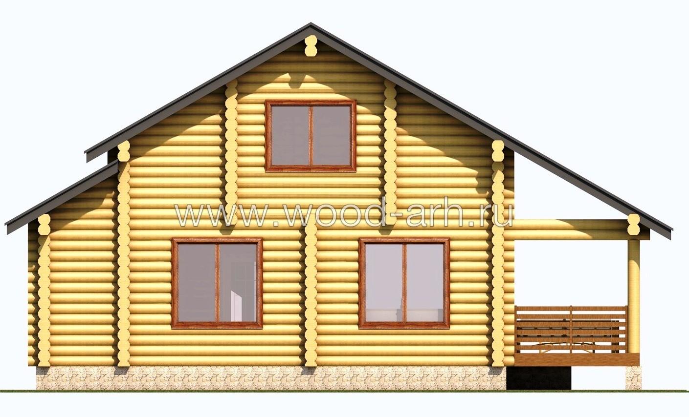 Проект дома 8*10 из бревна 2 этажа с террасой