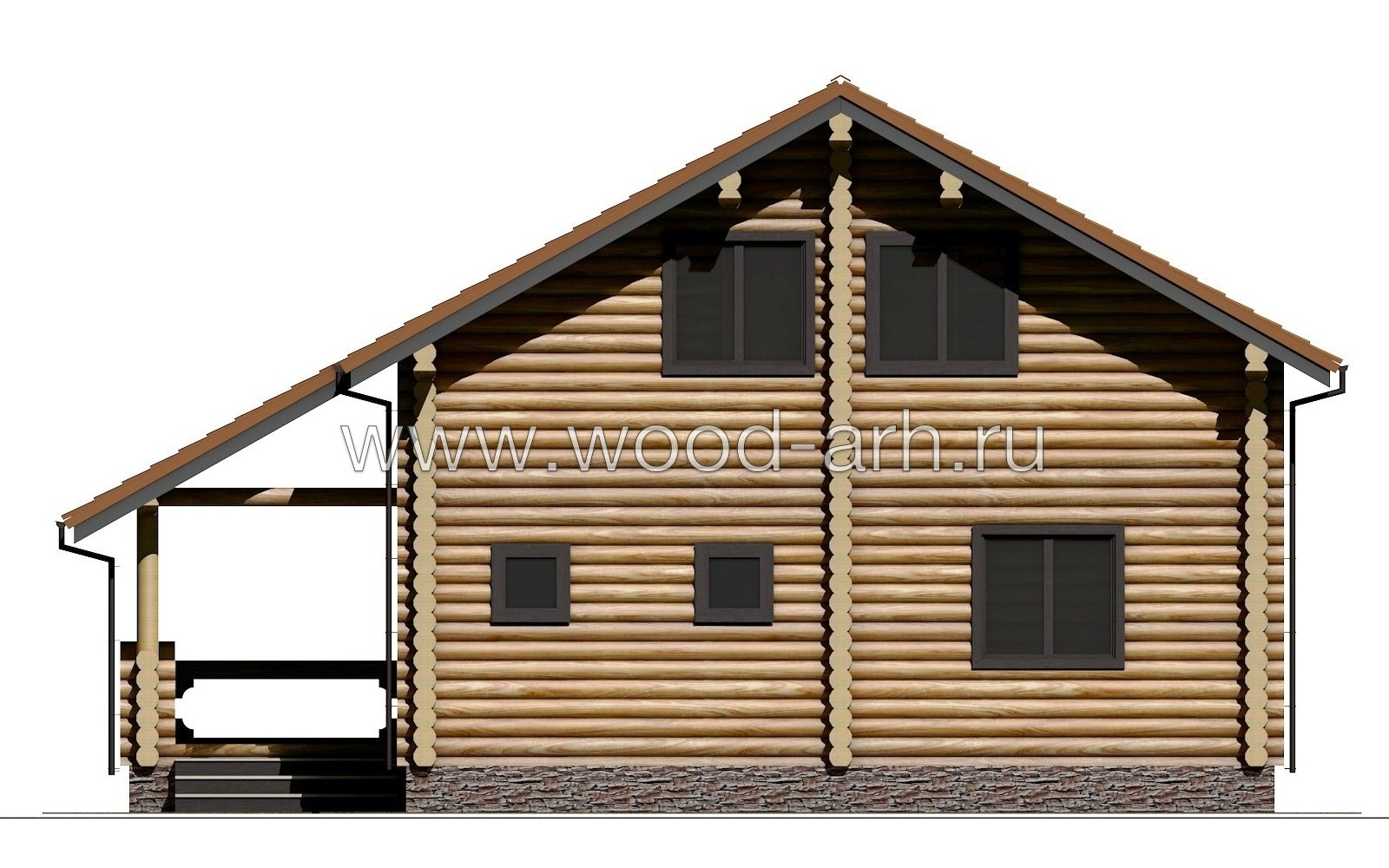 Проект дома 9*10 из бревна 2 этажа с террасой