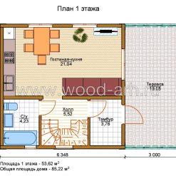 Проект дома 6*6 с из SIP-панелей 2 этажа с террасой