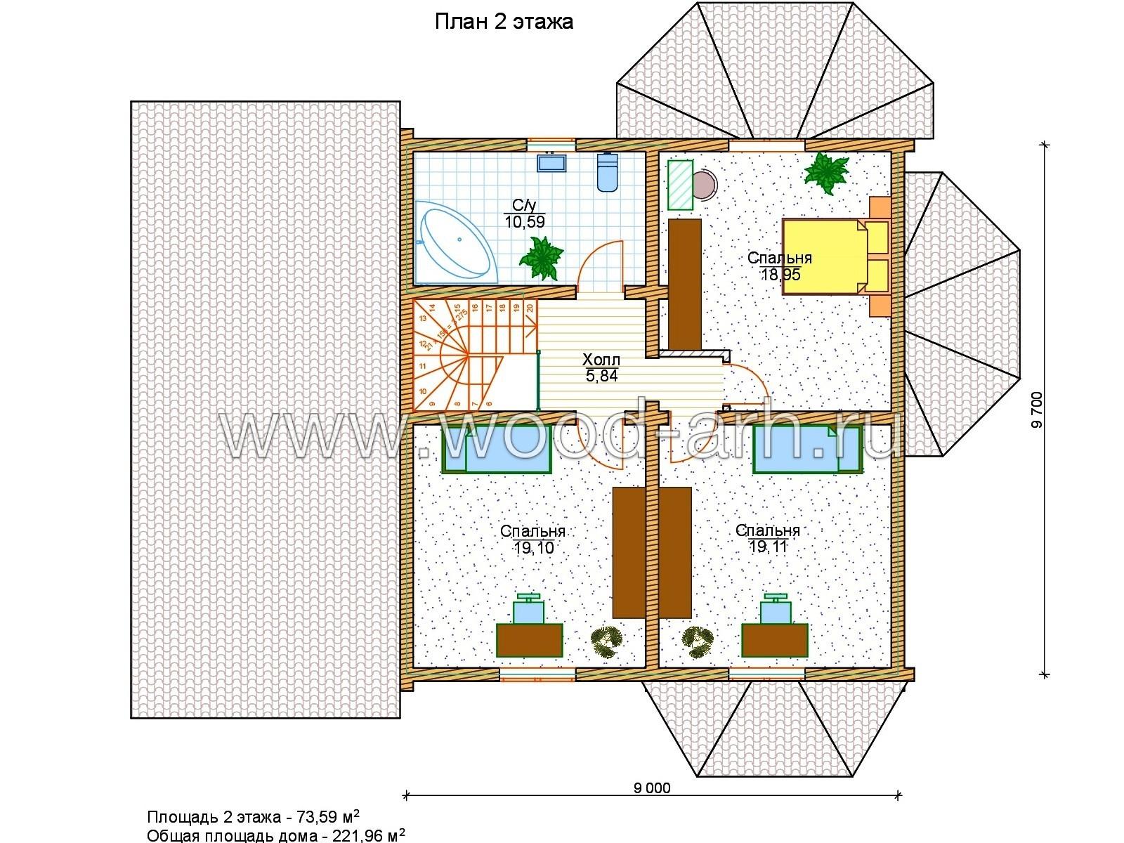 Проект дома 10*13 с эркером из бревна 2 этажа + гараж