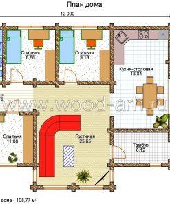 Проект дома 9*14 из бревна 1 этаж с террасой