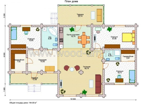Проект дома 11*20 из бревна 1 этаж с 2 террасами