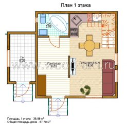 Проект дома 6*6 с из SIP-панелей 2 этажа с котельной