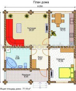 Проект дома 9*9 из бревна 1 этаж