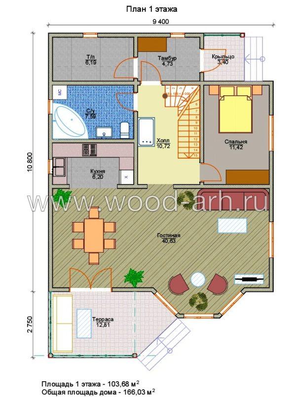 Проект дома 9х11 из SIP-панелей 1 этаж с мансардой с террасой