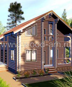 Проект дома 10*12 из бревна 2 этаж с верандой