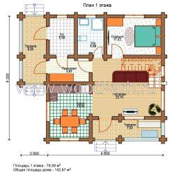 Проект дома 8,6*9,2 из бревна 2 этаж с верандой