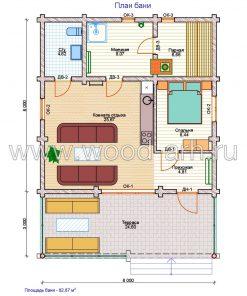 Проект большой бани 8*11 м из бревна 1 этаж с террасой