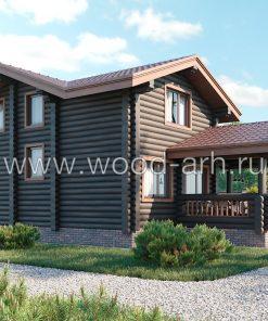 Проект дома-бани 6,5*11,5 м с террасой и 2 спальнями