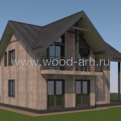 Проект двухэтажного деревянного каркасного дома 8,2х10,0