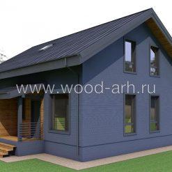 Проект дома 8х12 деревянный каркас в Скандинавском стиле