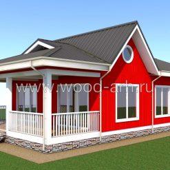Проект одноэтажного каркасного дома 8,5х13,7с большой террасой